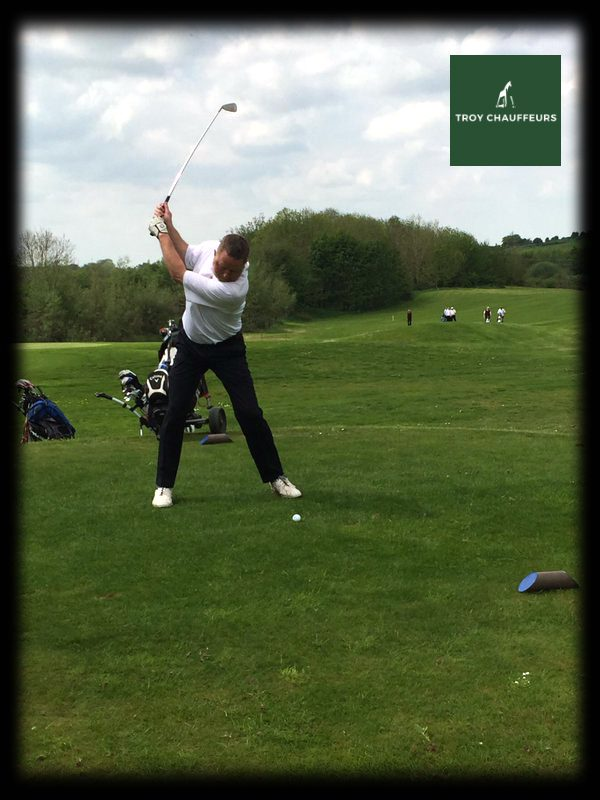Troy chauffeurs driver Conor teeing off on another great golf tour